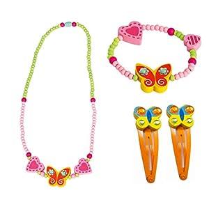 Bino 4 tlg. Set Holzschmuck Mädchen Motiv Schmetterling Gelb – Halskette Armband 2 Haarspangen