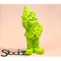 Stoobz PP 005li 15x 12x 32cm Cheeky gnomo de jardín Figura para hogar y jardín–Verde Lima