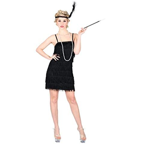 (S) Ladies Showtime Flapper Girl Costume for 20s 30s Molls Fancy Dress Womens