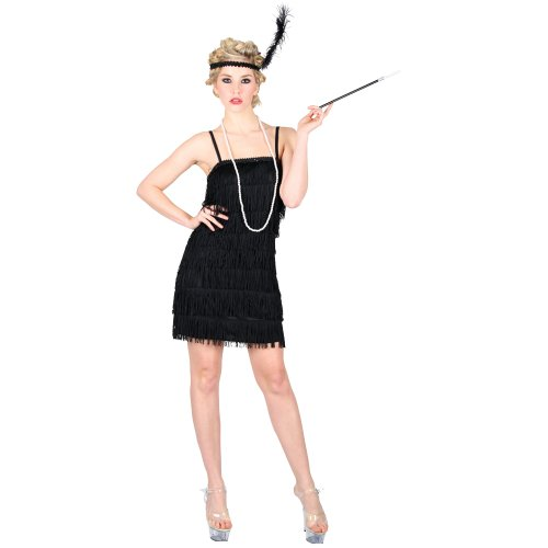 Fringe Flapper Kostüme Kleid (Black Flapper Showtime Girls Fancy Dress 20s)