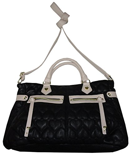 Betsey Johnson Women's Be Mine Satchel, Puffy Black Hearts/Bone -