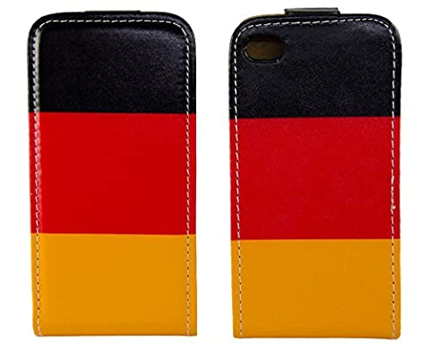 handy-point Klapptasche Klapphülle Flip Case Tasche Hülle Schutzhülle für iPhone 4, 4G, 4S mit Deutschland Flagge, Schwarz, Rot,