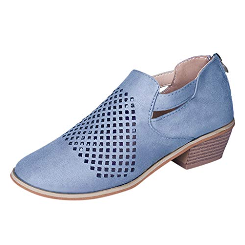 NINGSANJIN Damen Stiefeletten Chelsea Boots mit Blockabsatz Profilsohle (Blau,37)