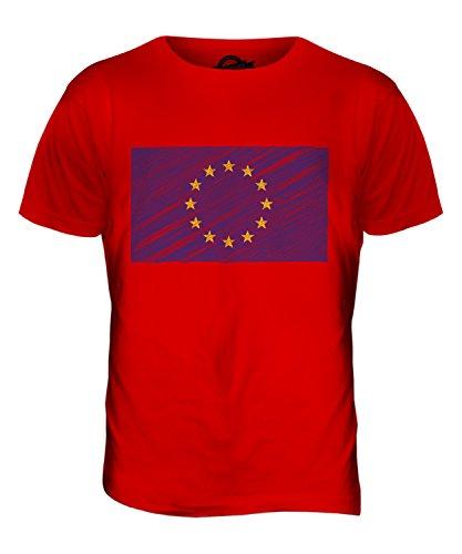 CandyMix Europäische Union Kritzelte Flagge Herren T Shirt Rot