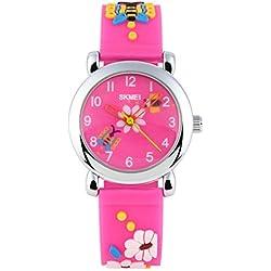 BesWLZ Kids Outdoor Sports 30M Waterproof Quartz Watches with Cartoon Strap Children Analog Wristwatch Pink