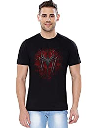 The Souled Store Marvel Spiderman Crest Superhero Printed Premium BLACK Cotton T-shirt for Men Women and Girls
