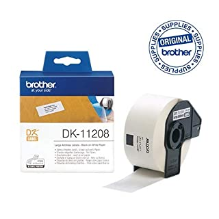 Brother DK-11208 Label Roll, Large Address Labels, Black on White, 38 mm (W) x 90 mm (L), 400 Label Roll, Brother Genuine Supplies