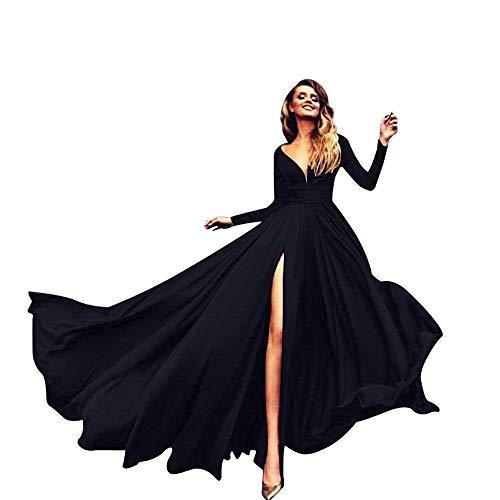 Yueyue Kleider Damen V-Ausschnitt Rückenfrei Neckholder Abendkleider Elegant Cocktailkleid Maxikleid Lang Party Kleid (Schwarz, s)
