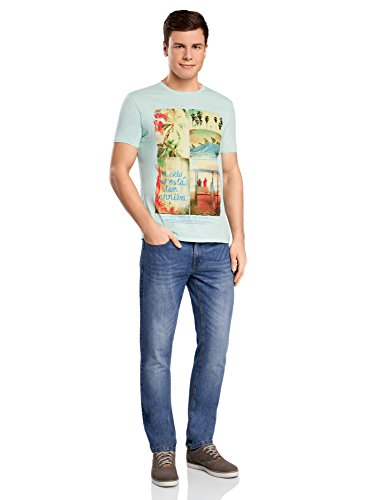 oodji Ultra Herren Lässiges T-Shirt mit Stranddruck Grün (6550P)