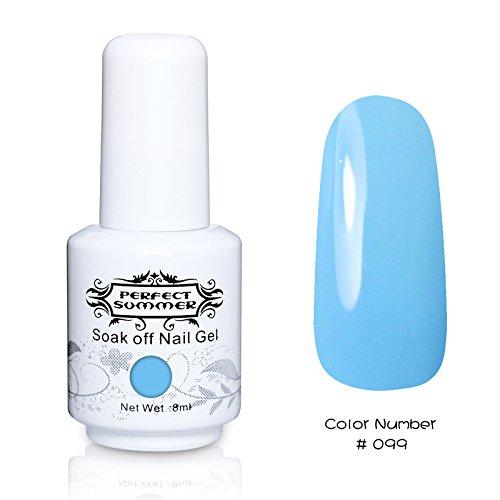 Perfect Summer 1pcs 8ml Vernis à Ongles Semi-Permanent UV LED Soak Off Gel Nail Polish Bleu Series #99 Bleu Nuage