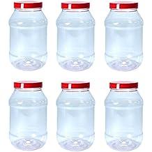 Conjunto de 6 recipientes grandes de plástico para alimentos 1000ml con tapas rojas por Britten &