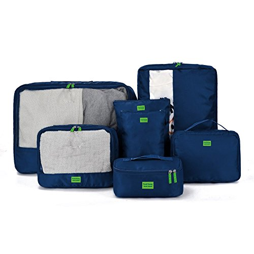 GIANCOMICS 7 Pcs Travel Luggage Organiser Bag Suitcase Packing Cubes Storage Bags Toiletry Bag Houseware Travel Pack Blue