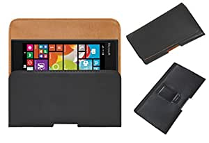 Acm Belt Holster Leather Case For Microsoft Lumia 735 Mobile Cover Holder Clip Magnetic Closure Black