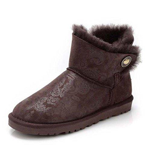 Bottes De Neige D'hiver Des Femmes Low Tube Strass Imperméable À L'eau Antidérapante Garder Au Chaud Bottes Féminines Chaussures De Coton Brun