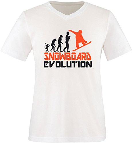 EZYshirt® Snowboard Evolution Herren V-Neck T-Shirt Weiss/Schwarz/Orange