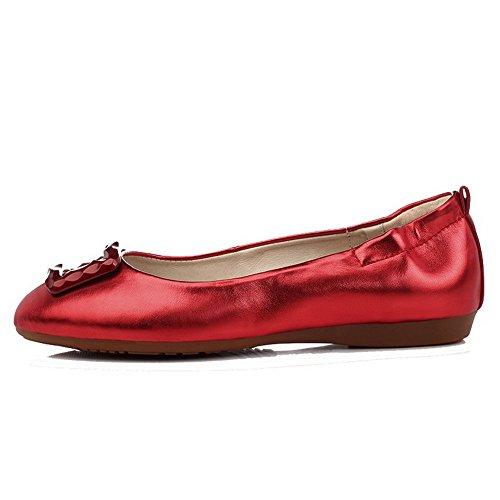 AllhqFashion Femme Tire Rond Non Talon Couleur Unie Chaussures à Plat Rouge