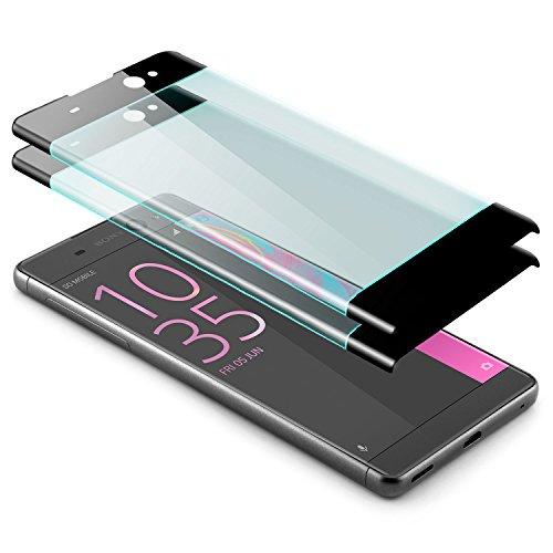 zanasta 2 Stück Bildschirmschutz Glass kompatibel mit Sony Xperia XA Ultra Schutzfolie aus gehärtetem Glas [Vollständige Abdeckung] Schwarz