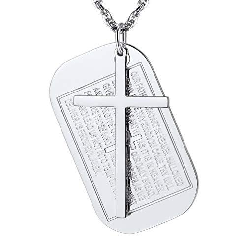 PROSTEEL Edelstahl Halskette Vaterunser Erkennungsmarke Kreuz Gebet Anhänger mit Kette religiöser Modeschmuck für Christen mit Geschenkbox(Silber)
