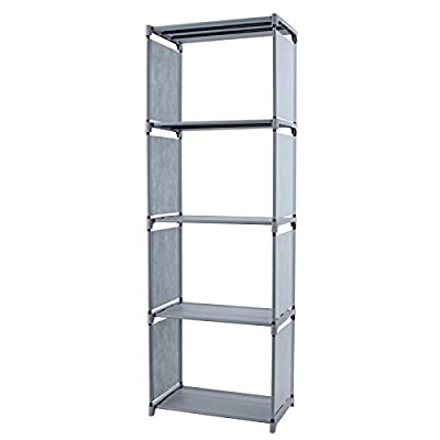 Songmics Storage Shelf Racking Garment Organizer Unit Book Shelves Grey LSN14G