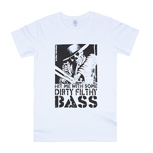 DJ Maglietta T Shirt - Hit Me Dirty Filthy Bass -Stampa Drum & Bass Music Producing Produttore Discografico T-Shirt - Uomo Donna Unisex - Bianca (XXL)
