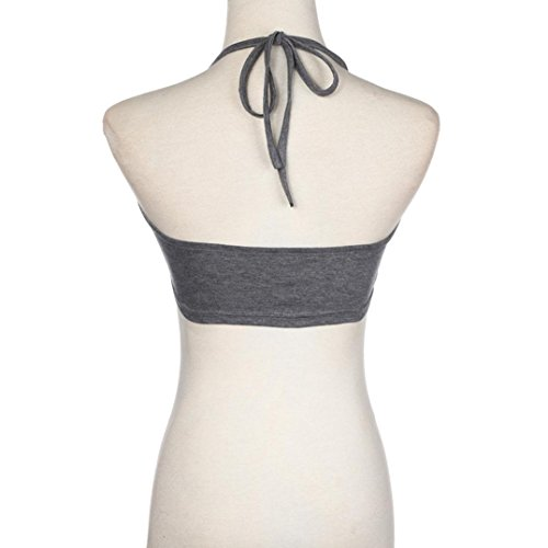 Bluestercool Femme T-shirt Sans manches Gilet courte Halter Neck Tank Gris