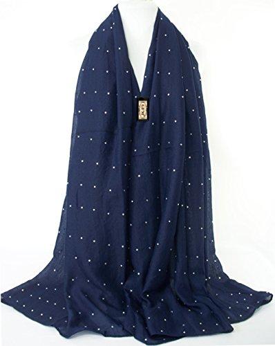 GFM Fastglas clouté strass grande taille pour écharpe étole Châle Pashmina Écharpe Hijab tête DMT-11-GHNL0 - Dark Navy