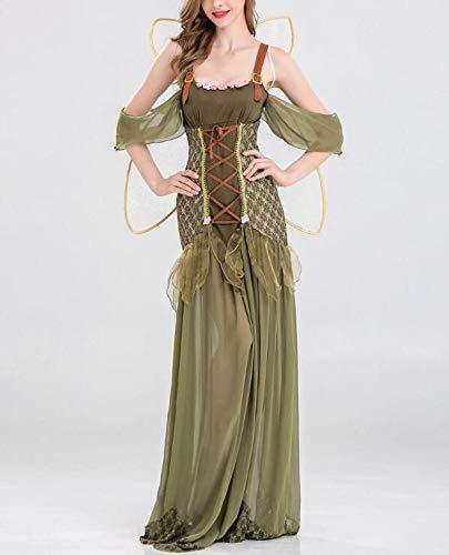 POIUYT Damen Halloween Cosplay Kleid Waldgrün Elf Blume Fee Prinzessin Kleid Engel Kostüm Erwachsene Kostüm Ball Kostüm Rock + Flügel,Green-XL