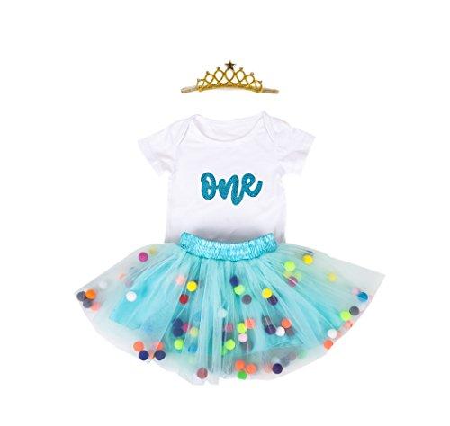 918dcda18dca Baby Girls 1st Birthday Outfit Glitter One Romper Balls Skirt Crown Headband