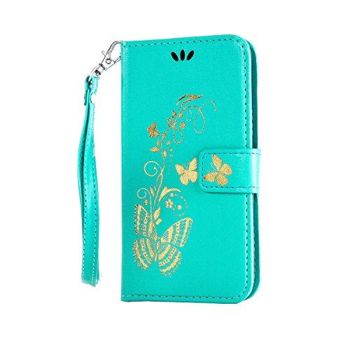iPhone 5C Hülle - Sunroyal Golden Schmetterlinge Lieben Blumen Bookstyle PU Kunst Leder Schutzhülle Ledertasche Case Blau für iPhone 5C + HD Panzerglas Durchlässigkeit + Staub Stecker Grün