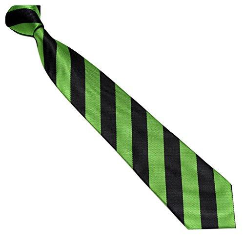Schmale Krawatte 7cm Streifen College Design Schwarz Grün gestreift - Binder Gewebte Microfaser Seiden-Optik - Herrenkrawatte z Anzug - Herren Schlips (Gewebte Seide Cambridge Krawatte)