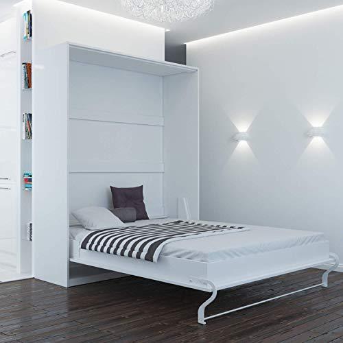 SMARTBett Standard 160×200 Vertikal Weiss Komfort Lattenrost Schrankbett | ausklappbares Wandbett, ideal geeignet als Wandklappbett fürs Gästezimmer, Büro, Wohnzimmer, Schlafzimmer - 3