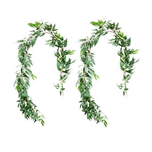 UNIQOOO Girlande aus Weidenblättern, künstliche Grünpflanzen, Hochzeitskranz, Kunstblumenkranz, Hochzeitshintergrund, Grünerie, Tischläufer, Bogendekoration, Fotokabine, 2 Stück