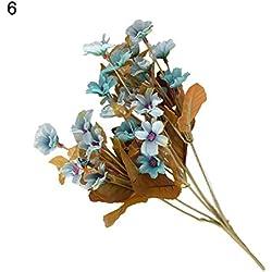 gzzebo 1 Ramo De Plástico Artificial Flor de la Margarita Planta Hogar Jardín Hotel Oficina Fiesta Decoración de la Boda Azul