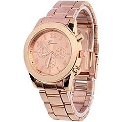 Familizo Unisex Stainless Steel Quartz Fold Over Band Wrist Watch Rose Gold