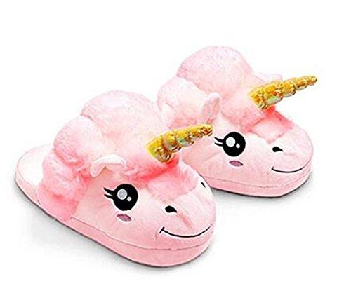 Kenmont Peluche Licorne Chaussons Unicorn Pantoufles Hiver Coton Chaussons Chaussures, pointure européenne: 36-41, cadeaux festival Idol Nouveauté Noël (Pink)