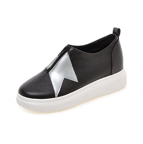 VogueZone009 Femme à Talon Bas Matière Souple Couleurs Mélangées Zip Rond Chaussures Légeres Noir