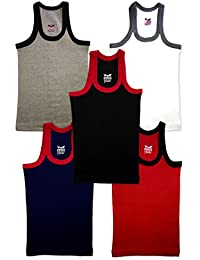 Hap Kings Boys Multicolour Rib Vest Pack (Pack of 5)