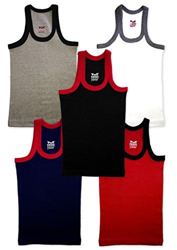Hap Kings Boys Rib Vest Combo (Pack Of 5) (KIDS_RIB_VEST_PC5_65_Multicolour_7-8 Years)