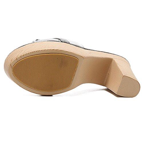 Oasap Damen Transparent Mit Schleife Ohne Verschluss Blockabsätzen Sandalen Grey