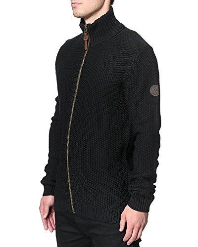 Herren Casual Fashion Lindbergh Winter Strick Cardigan gestrickt Pattern Zip Schwarz - Schwarz