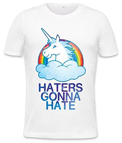 Haters Gonna Hate Rainbow Unicorn Mens T-shirt Large