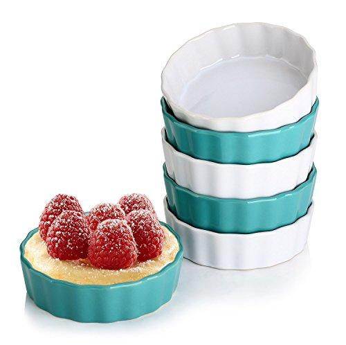 Lifver 150 ml Ramekin in ceramica, dimensioni di controllo delle porzioni perfette per fare creme brulees, classiche bocce a immersione, set di 6