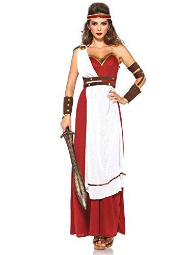 Toga Römische Kleid (Römische Kriegerin Toga Kleid Damenkostüm rot weiss braun)