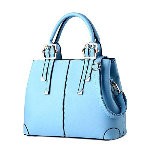 DELEY Damen Einfach Gestaltung Europa Stil Tote Handtasche Schultertasche Shopper Bag Blau