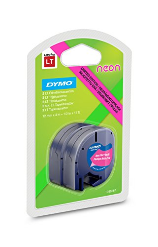 Dymo 1956287 Letra Tag Neonband, 2er Blister, 12 mm, 4-Meter-Rolle