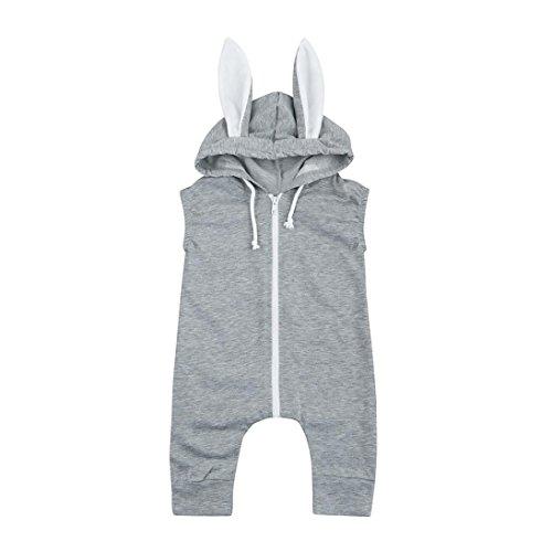 Neugeborene Baby Kleidung,QinMM Kinder baby Mädchen Spielanzug Kaninchen mit Kapuze Overall Ausrüstung (18-24M, Grau) (Kapuzen-kinder Overall)