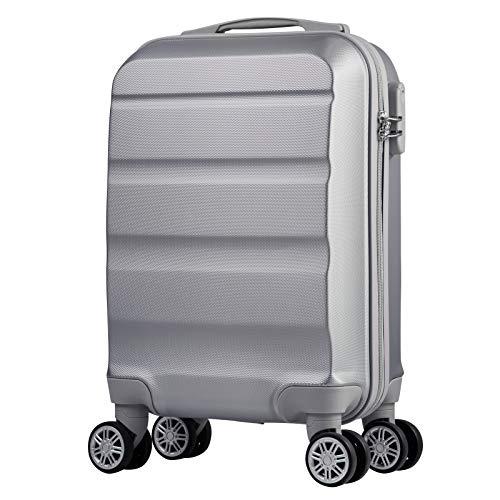 Reisekoffer 4 Rollen Handgepäckkoffer Hartschale Kleiner Koffer Trolley Kinder Gepäck leicht Rollkoffer in 53x33x20cm Hartschalenkoffer Silber