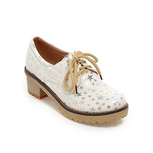 AgooLar Damen Gemischte Farbe Weiches Material Mittler Absatz Schnüren Pumps Schuhe Weiß