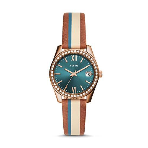 Fossil Damen Analog Quarz Uhr mit Leder Armband ES4593