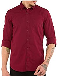 Urbano Fashion Maroon Solid Casual Shirt for Men
